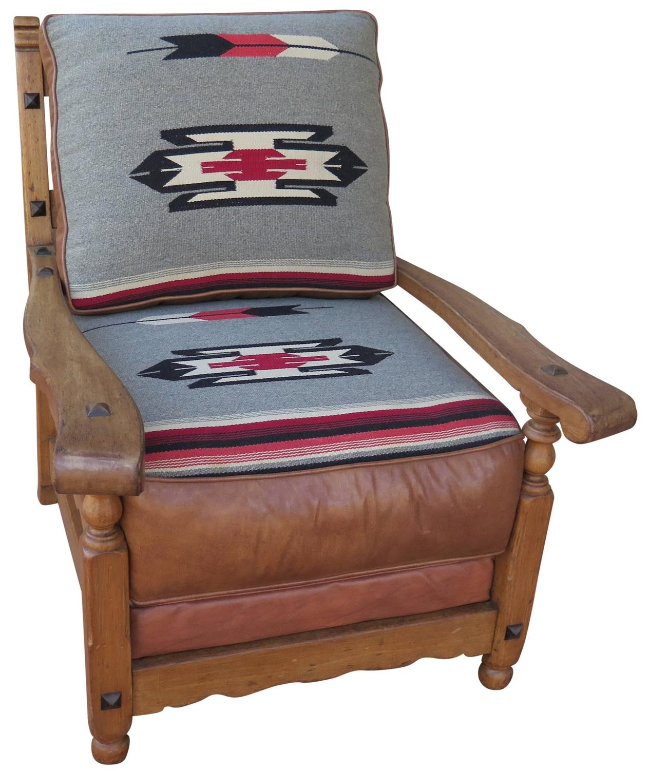 Western Chairs Western Cabin Style Chair With Leather And Chimayo