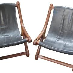 Sling Chairs For Sale Papasan Chair Cover Pair Of Don Shoemaker In Black Leather