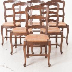 Ladder Back Dining Room Chairs Eames Lounge Chair Brown Set Of Six French 1940s Oak For