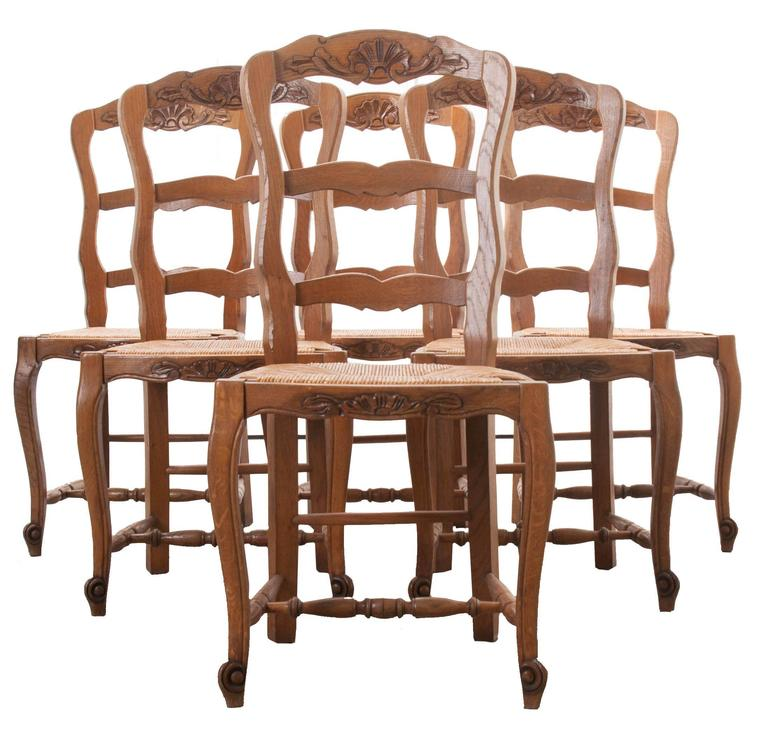 rush seat chairs cheap desk and chair set of six for sale at 1stdibs french