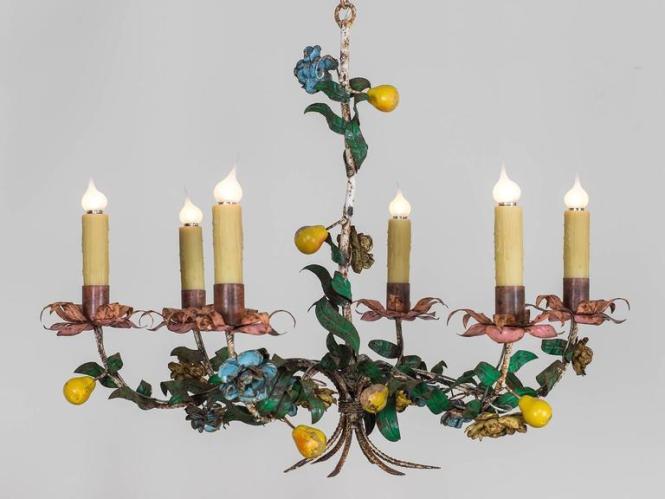 Whimsical Vintage Italian Tole Chandelier Circa 1920 2