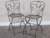 Pair Vintage French Folding Steel Garden Chairs Circa
