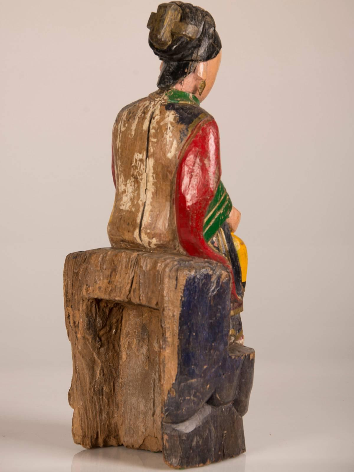 Large Antique Chinese HandCarved and Painted Female