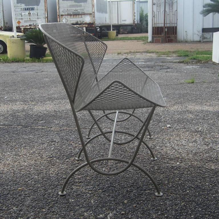 outdoor patio wrought iron chair pad kitchen tables and chairs vintage mid-century salterini settee at 1stdibs