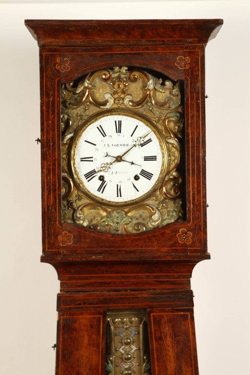 1860 Country French Morbier Clock at 1stdibs