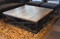 Transitional Maplewood Criss-Cross Design Coffee Table at ...