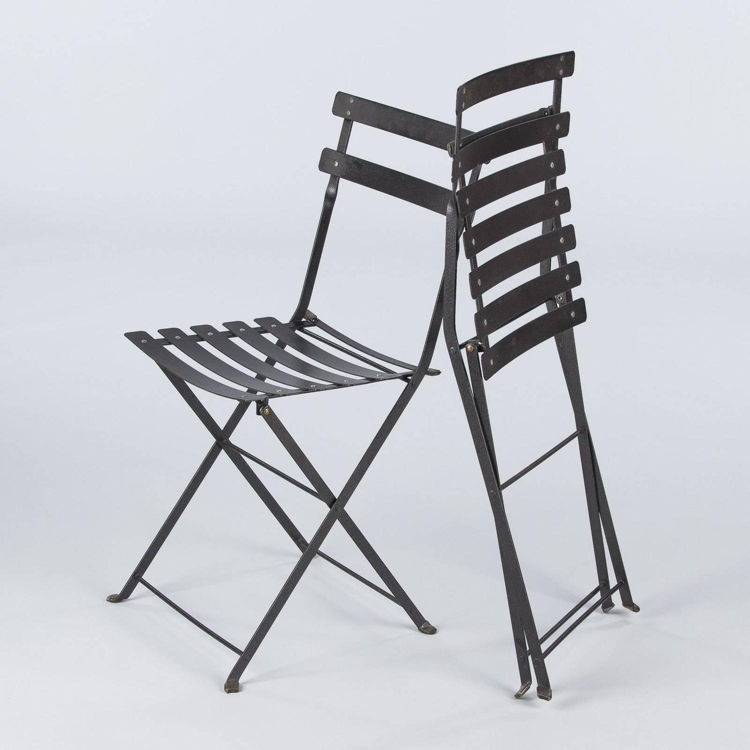 Fermob Bistro Chair Set Of Four French Folding Bistro Metal Side Chairs By