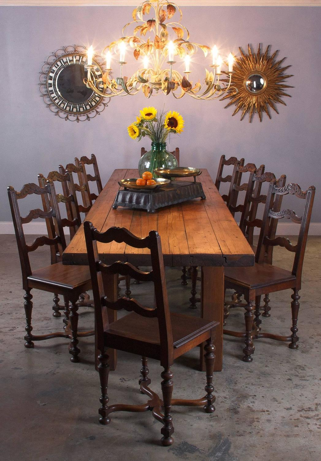 french country farm table and chairs best bean bag for dorms pine long early 1900s sale