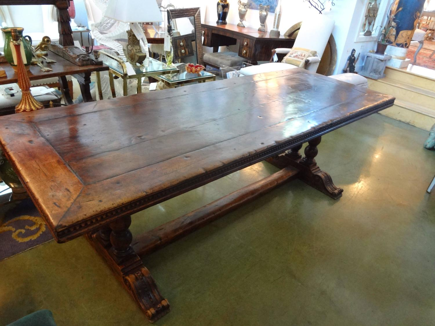 Antique French Walnut Trestle Dining Table For Sale At 1stdibs
