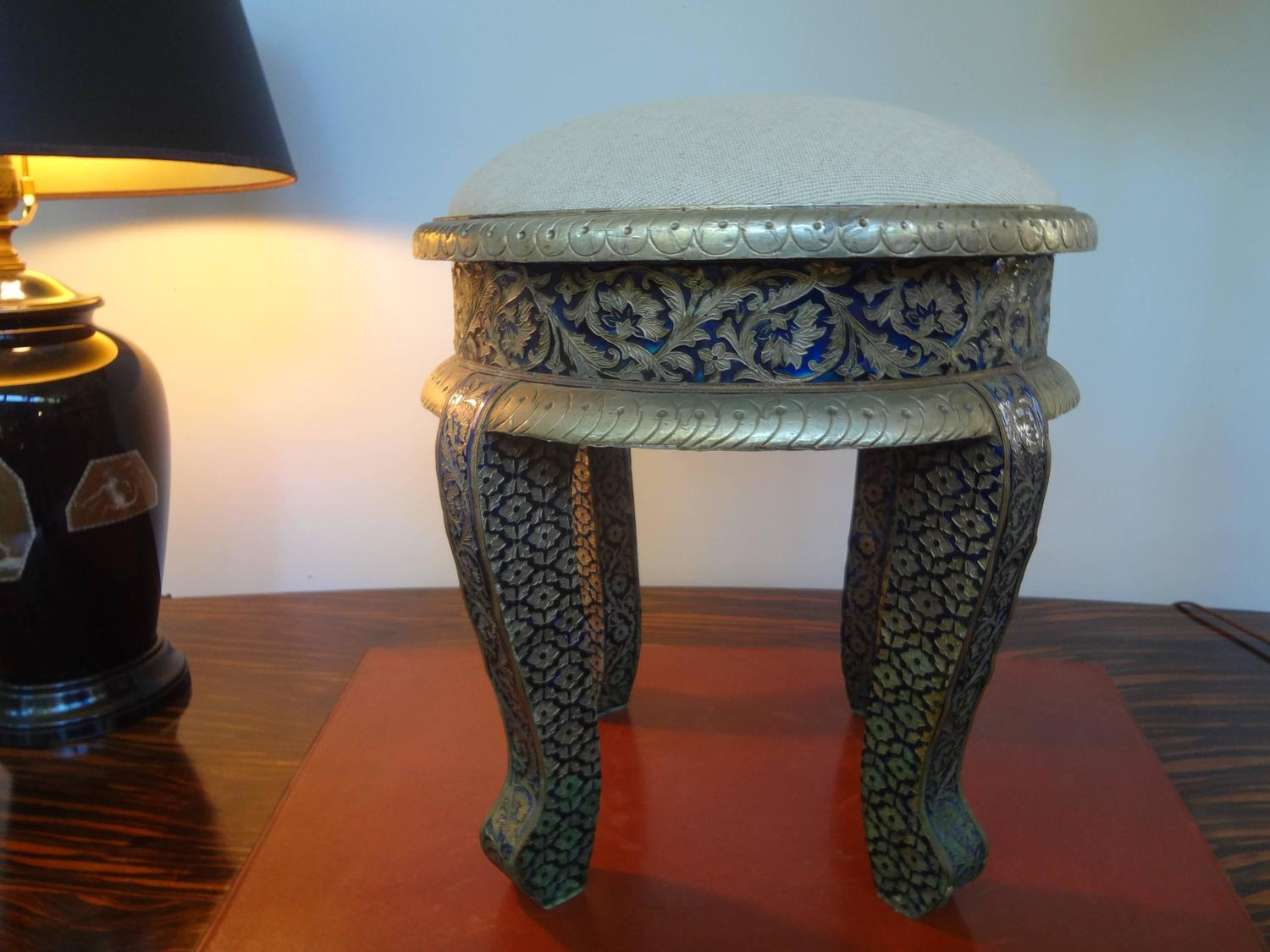 steel chair buyers in india ergonomic dublin anglo indian metal clad upholstered ottoman at 1stdibs