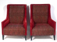 Pair of Modern British Wing Back Lounge Chairs by Andrew ...