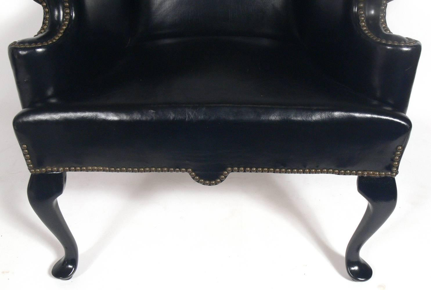 black leather wingback chair eames plywood lounge perfectly patinated wing for sale at