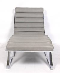 Mid-Century Cantilevered Chrome Lounge Chair and Ottoman ...