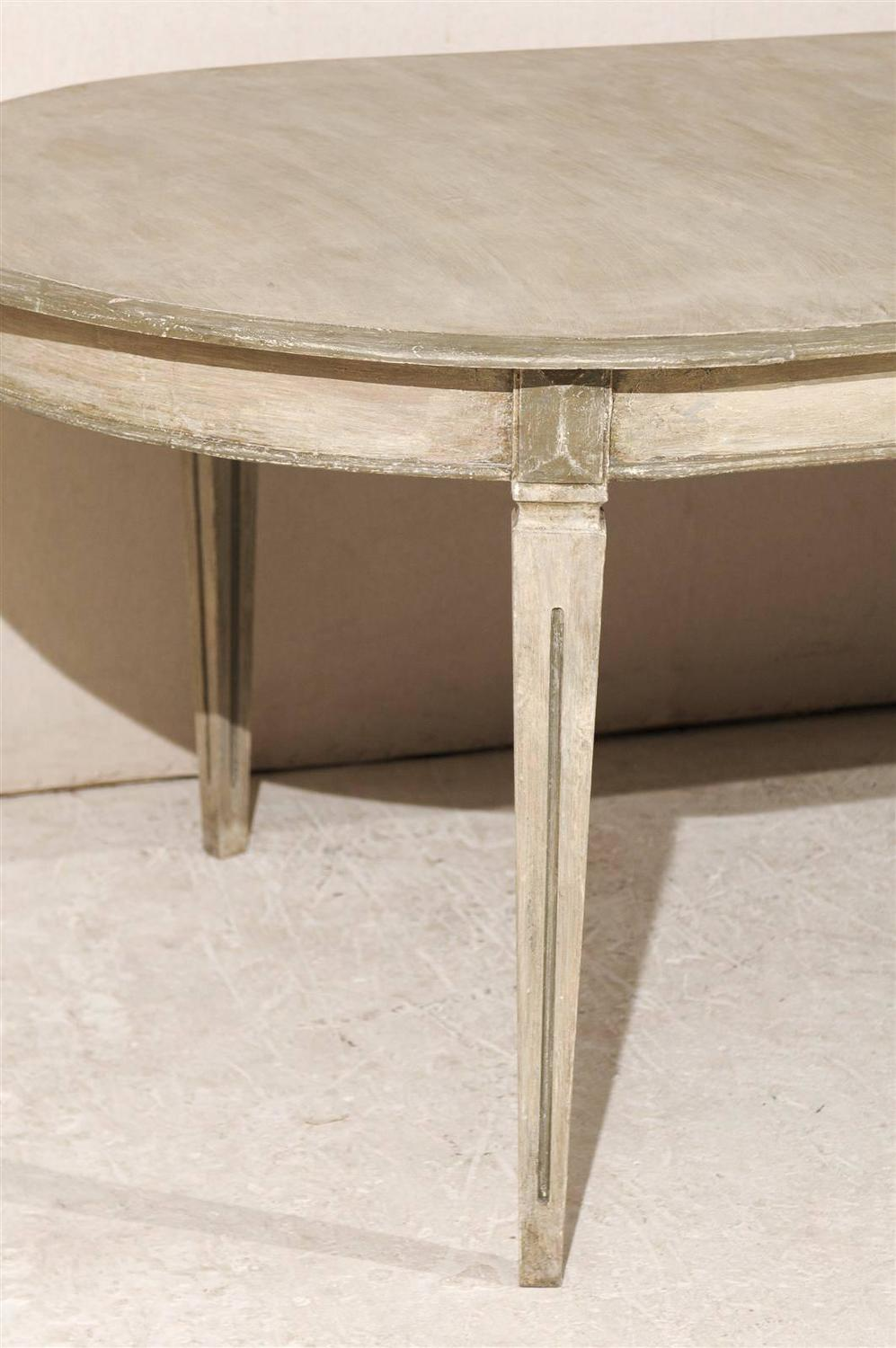 Swedish Gustavian Style Painted Wood Oval Dining Table At
