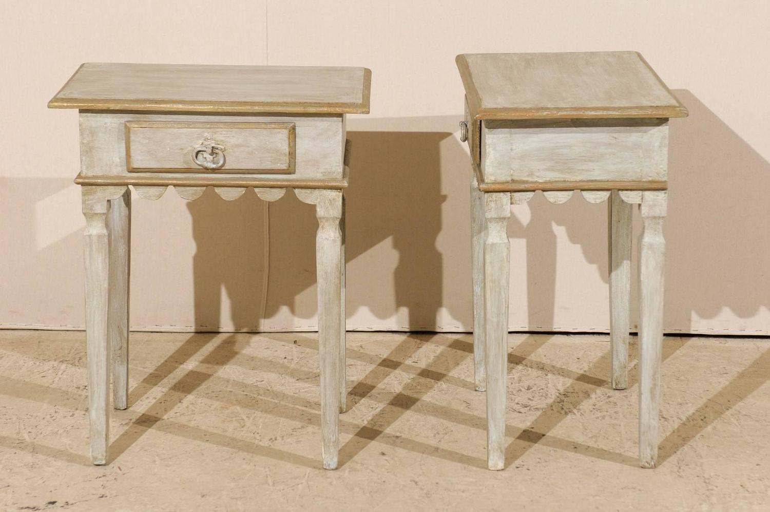 Pair Of Brazilian Gilded And Painted Wood Side Tables With