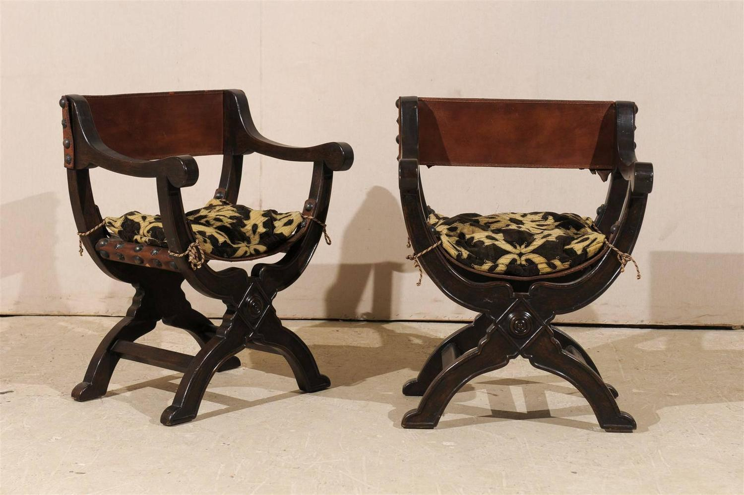 Dante Chair Pair Of Italian Quotdante Quot Style Wooden Chairs With Leather