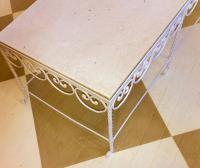 American Mid-Century White Iron and Marble Cocktail Table ...
