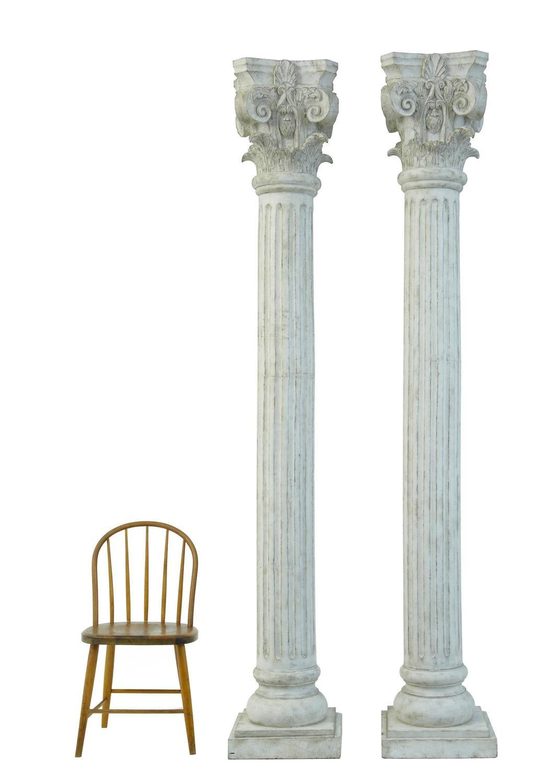 Large Pair Of Decorative Carved Wood Corinthian Columns