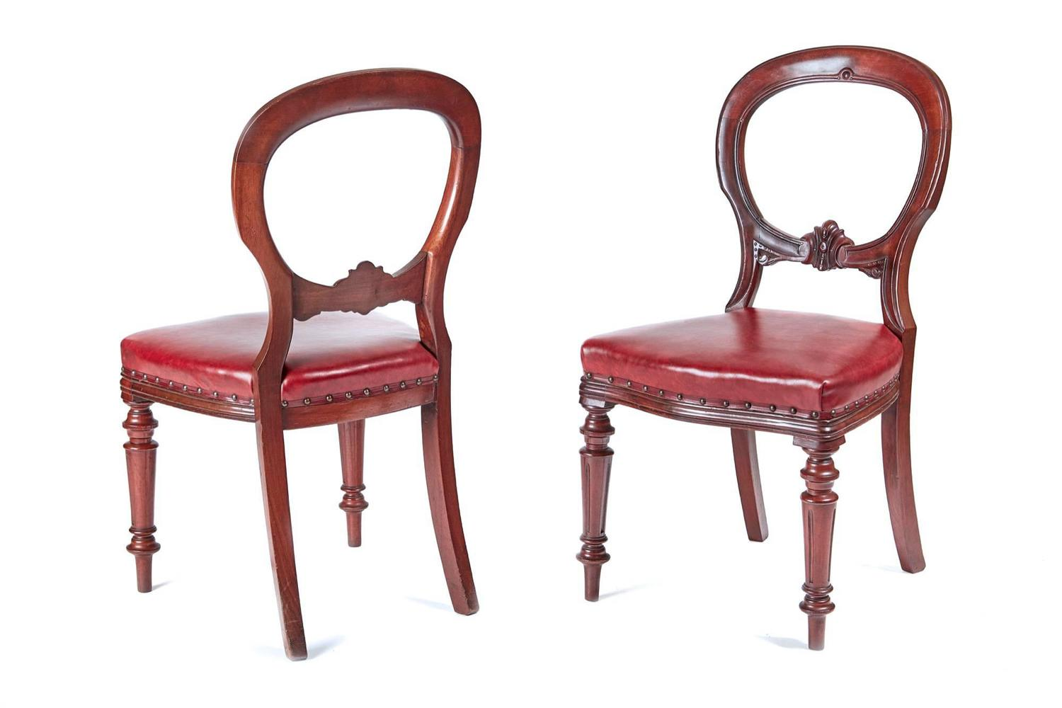 Balloon Chair For Sale Set Of Six 19th Century Balloon Back Leather Dining Chairs