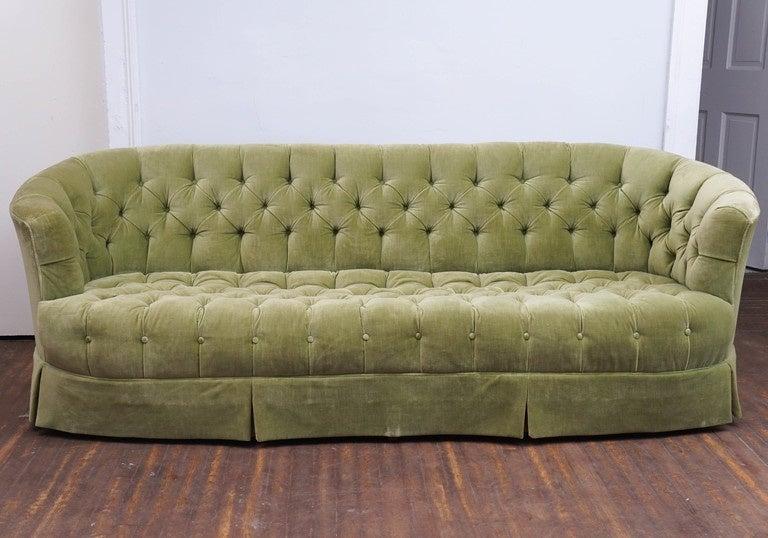 Hollywood Regency Chesterfield Mint Green Velvet Tufted Sofa For