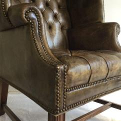 Tufted Leather Wingback Chair Glider For Nursery Porters Chesterfield Sofa At