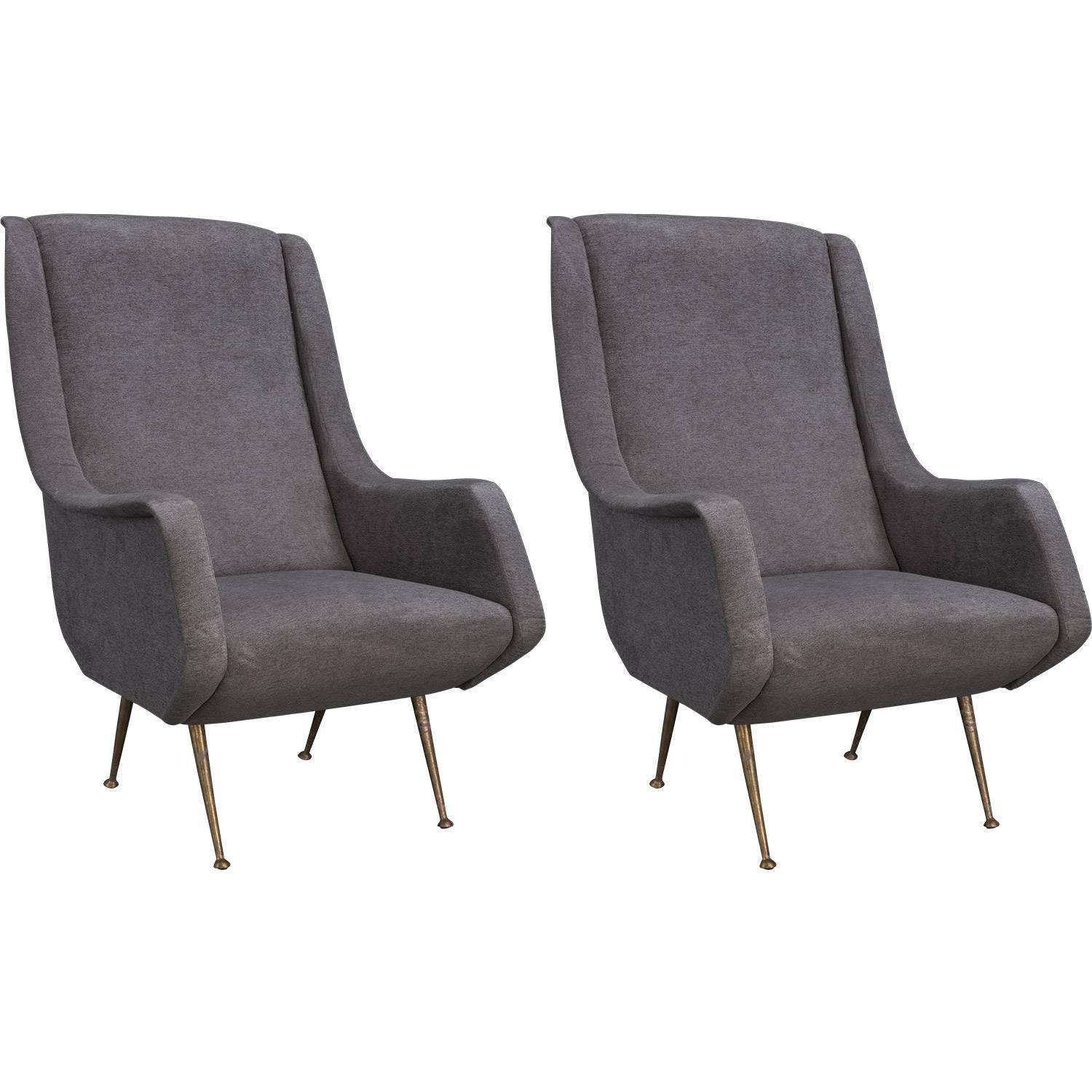 grey modern armchairs chair for bad back velvet and brass circa 1960