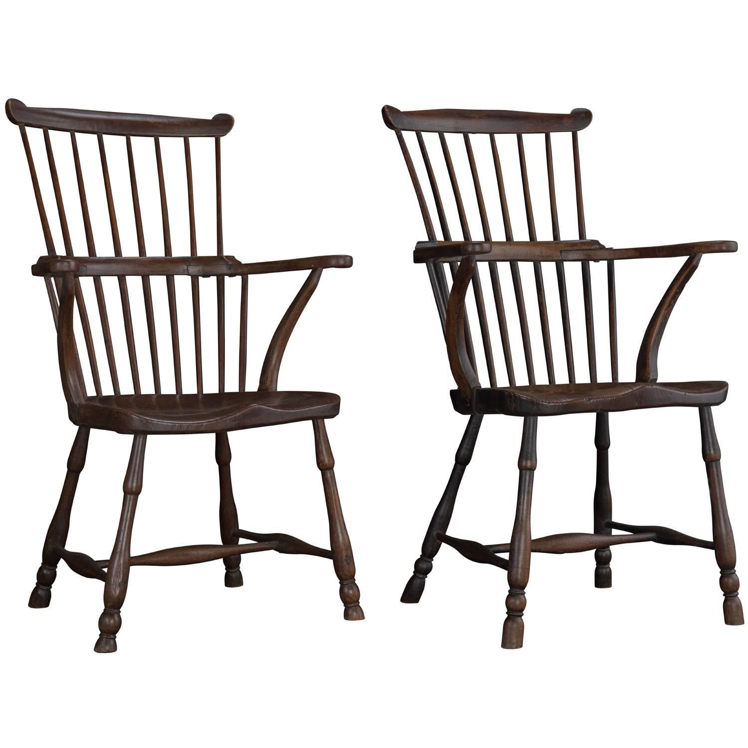 comb back windsor chair revolving surat pair of elm armchairs circa 1780 for