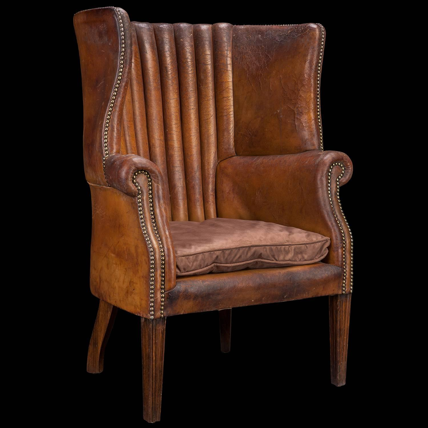 wingback chair for sale earth executive vip tall directors barrel back leather wing at 1stdibs