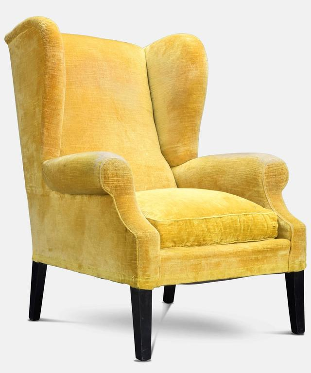 Pair of Yellow Velvet Wingback Armchairs circa 1950 at