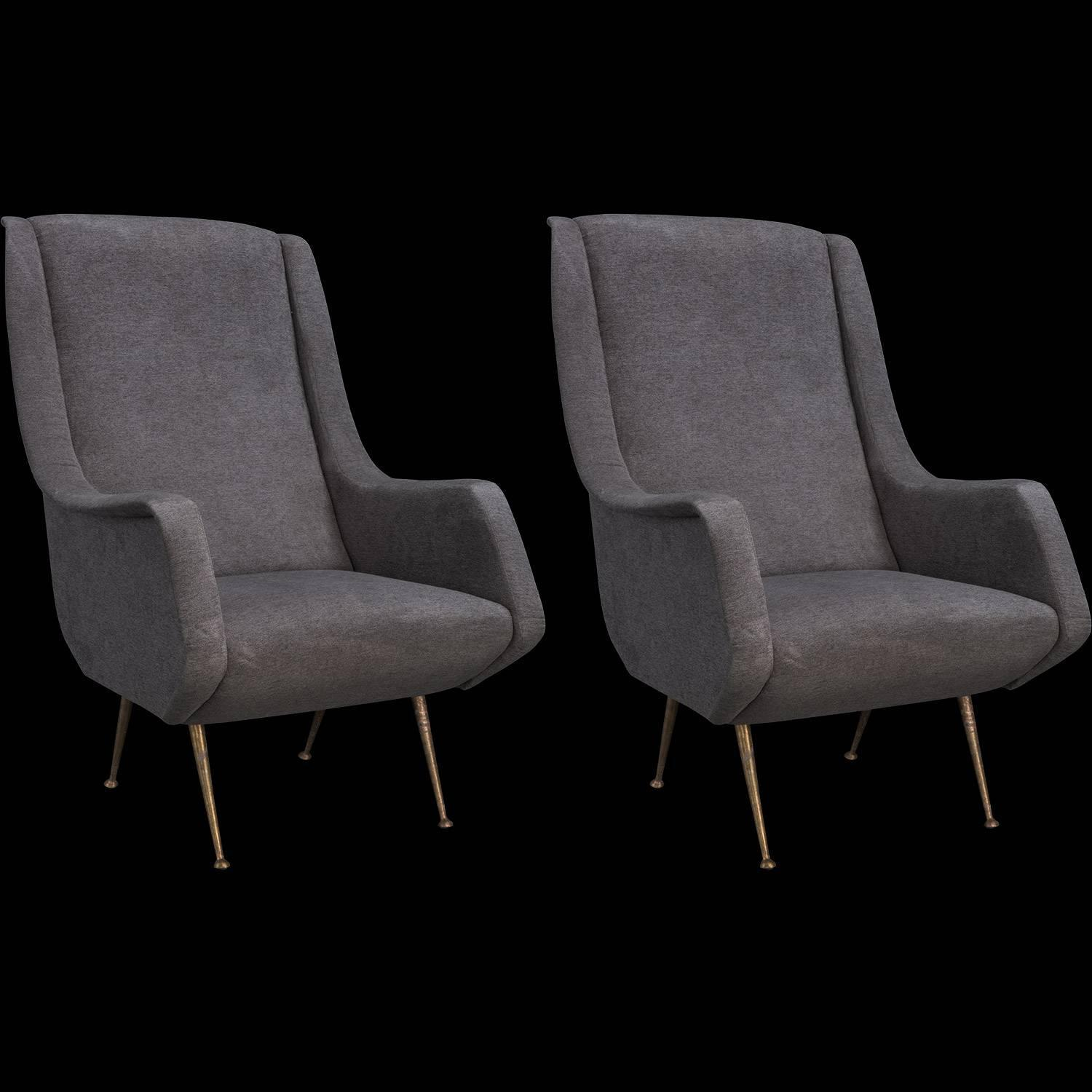 grey modern armchairs bad back chairs for home velvet and brass circa 1960