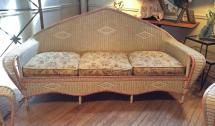 antique 1930s wicker sofa and pair
