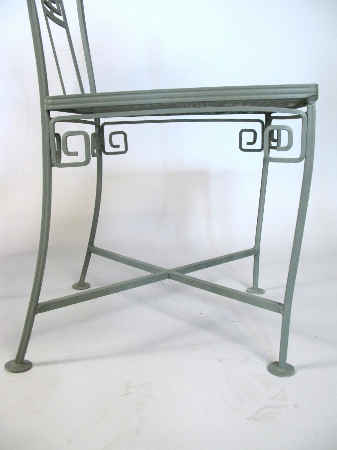 vintage wrought iron table and chairs united chair medical stool greek key dining at