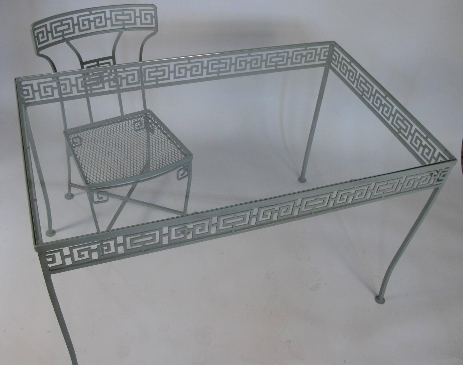 vintage wrought iron table and chairs fancy high chair greek key dining at