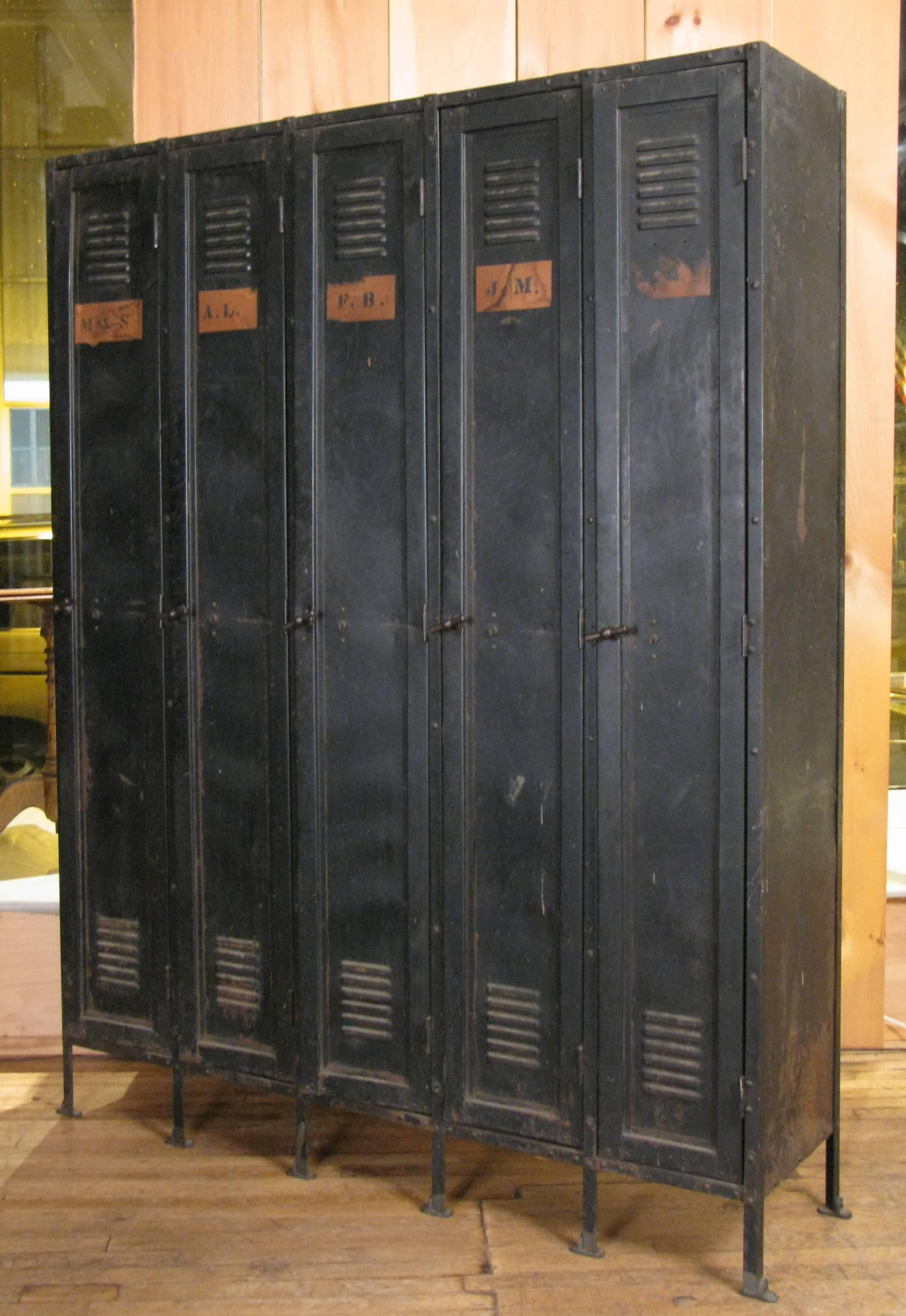 Set of Antique 1920s Steel and Cast Iron Lockers at 1stdibs
