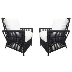 Chairs And Ottomans Upholstered Fishing Arm Chair Wicker Or Bamboo Patio In White Canvas For Sale