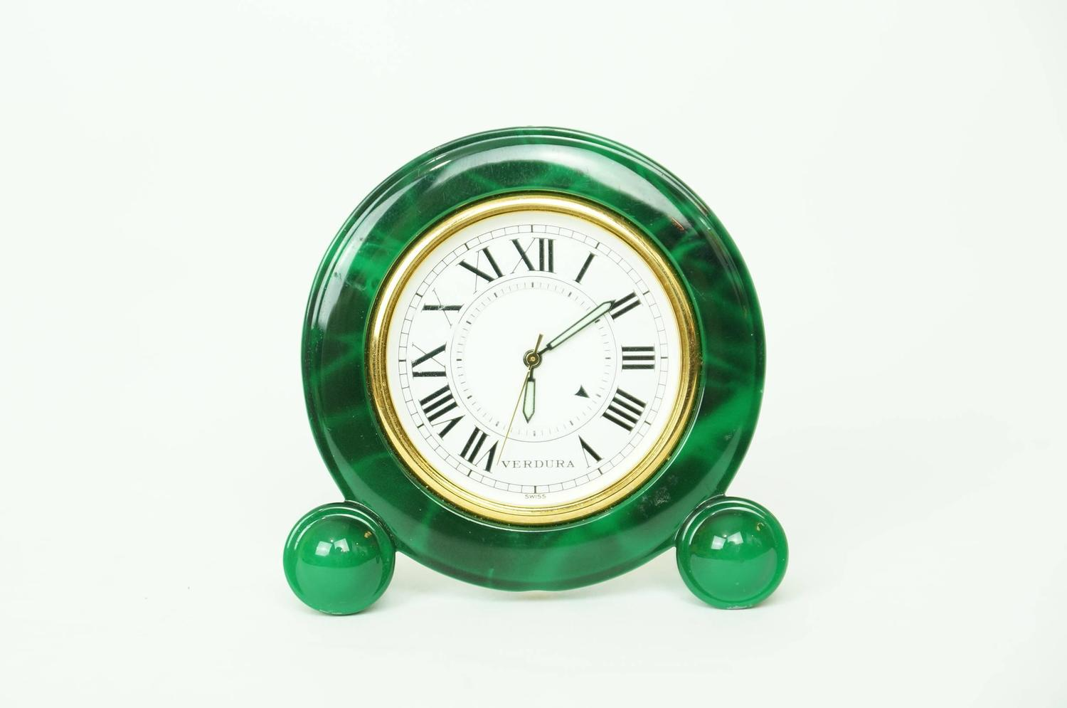 Small Green Enamel and Brass Desk Clock by Verdura at 1stdibs