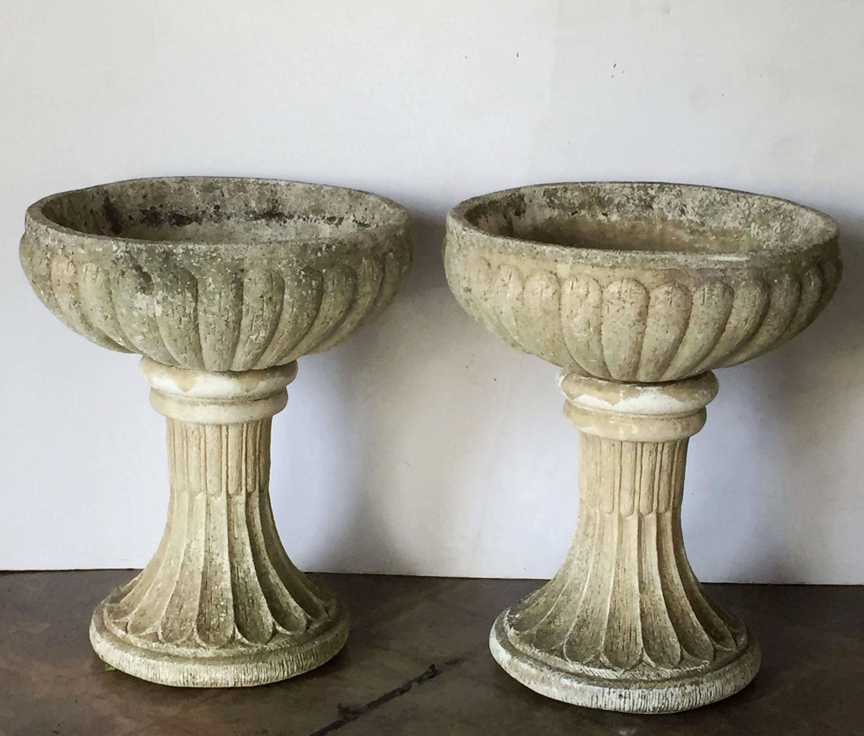 Pair Of Large English Garden Stone Urns On Pedestals
