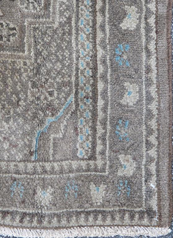 Small Vintage Bidjar Rug with Diamond Medallion in Gray Blue and Brown at 1stdibs