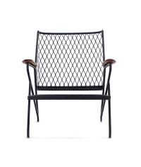 Mid-Century Modern Red Wood and Wrought Iron Outdoor ...