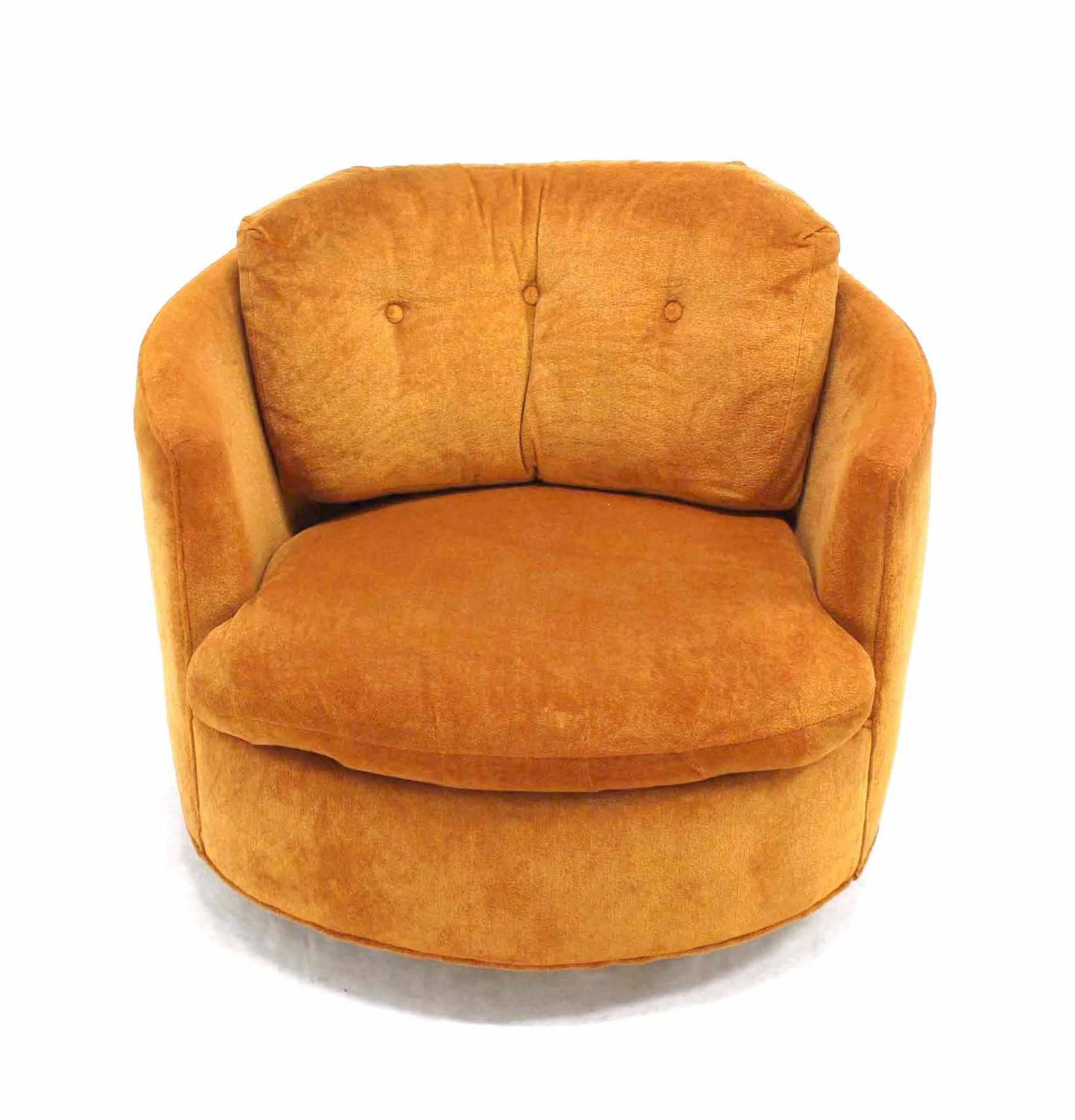 MidCentury Modern Round Barrel Back Swivel Lounge Chair