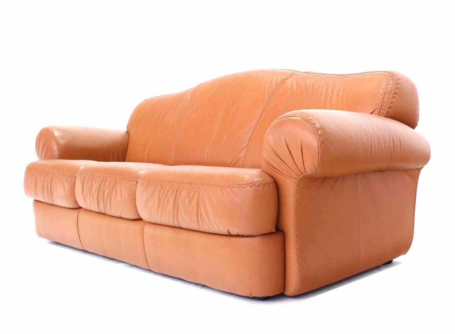 baseball leather sofa vinyl covered sofas pair of tan decorative style stitching
