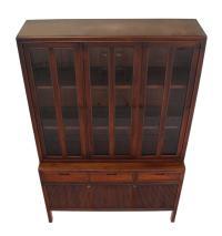 Mid-Century Modern Fluted Doors Walnut China Cabinet Hutch ...