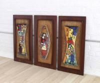Set of Three Framed Art Tiles For Sale at 1stdibs