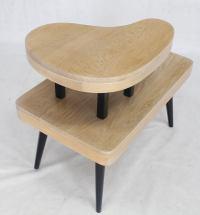 Cerused Oak Two-Tier Mid-Century Modern Organic Two-Tone ...