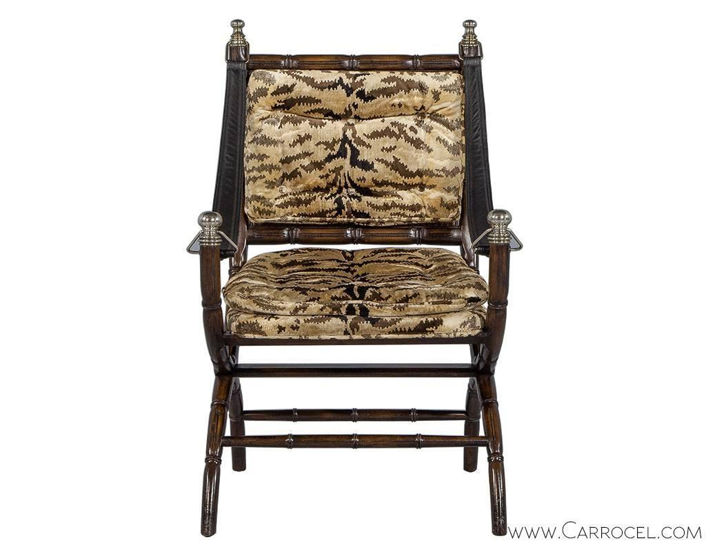Zebra Accent Chair Faux Bamboo And Zebra Accent Chair For Sale At 1stdibs