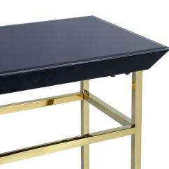 Gold Glass Sofa Table How To Remove Stain From White Leather Black And Metal Console At 1stdibs
