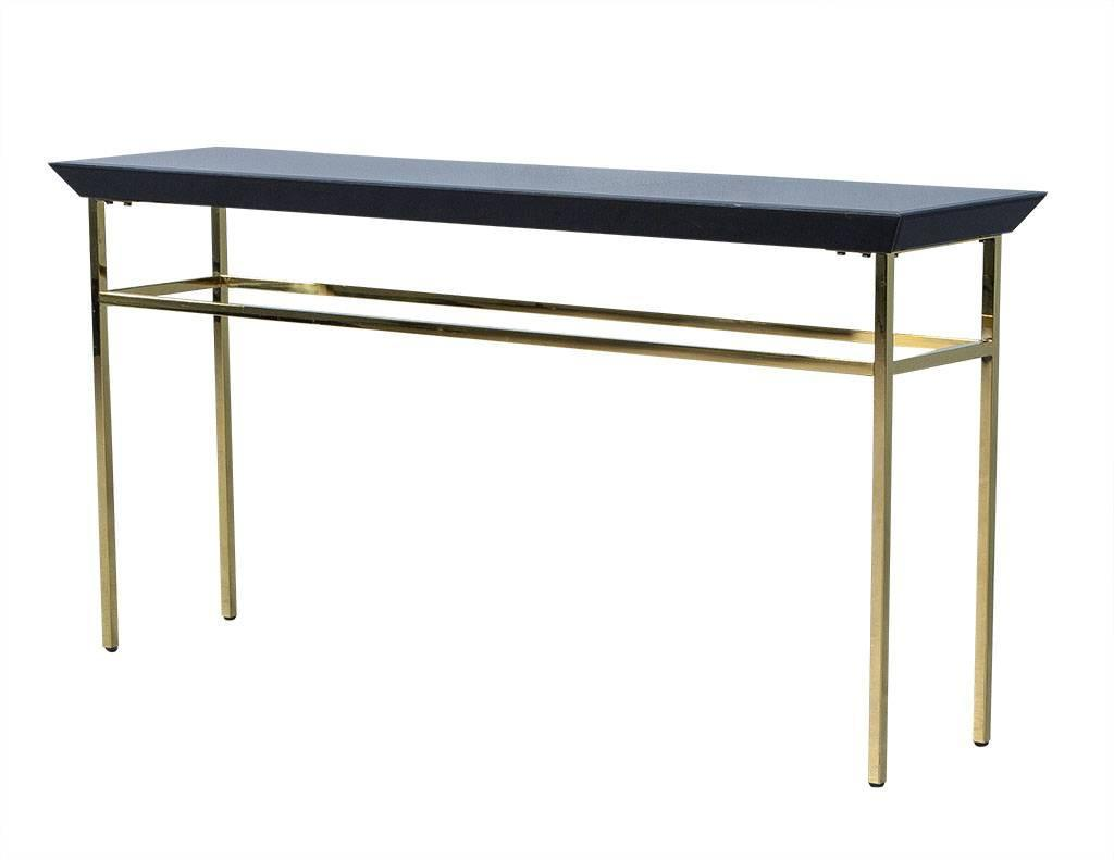 gold glass sofa table how to replace cover black and metal console at 1stdibs