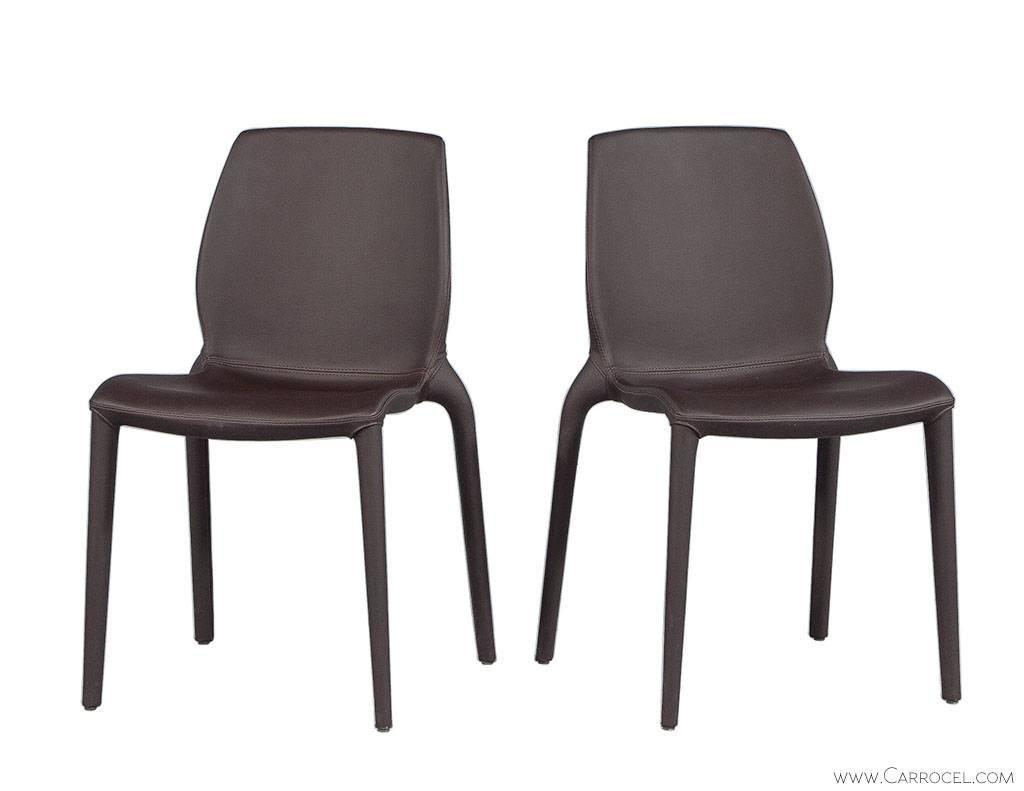 Italian Dining Chairs Set Of Four Modern Chocolate Leather Italian Dining Chairs