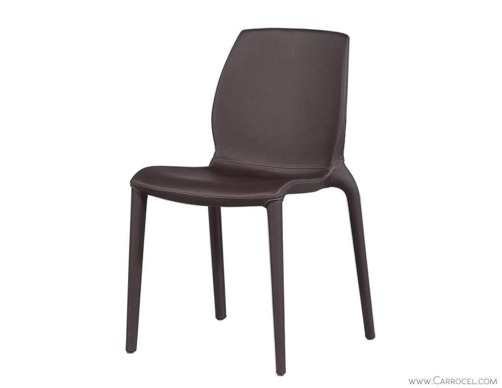 chocolate leather dining chairs high stool chair gumtree set of four modern italian