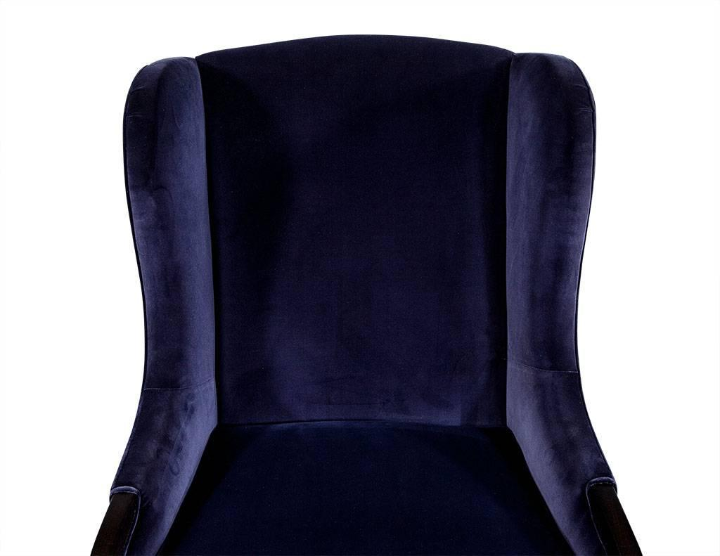 Blue Velvet Wingback Chair Pair Of Blue Velvet Wing Chairs By Carrocel For Sale At